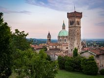 View of the medieval tower and the dome of the Cathedral in Lona stock photography