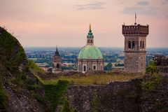 View of the medieval tower and the dome of the Cathedral in Lona royalty free stock photography