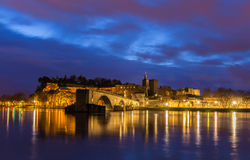 View of medieval town Avignon at morning, UNESCO world heritage Stock Photos