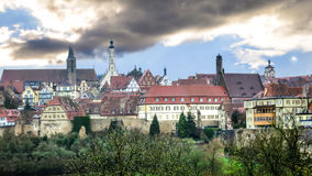 View of the medieval town beyond the pinion wall. Rothenburg, Bavaria, Germany Stock Photography