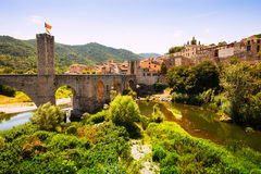 View of medieval town with bridge Royalty Free Stock Images
