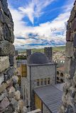 View of the Medieval Town from the Embrasure, Rabati. Akhlatsikhe, Georgia, May.2017 royalty free stock photography