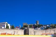 View of medieval town Obidos on a beautiful summer day.  Stock Images