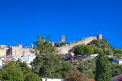 View of medieval town Obidos on a beautiful summer day Royalty Free Stock Images