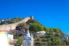 View of medieval town Obidos on a beautiful summer day.  Stock Image