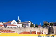View of medieval town Obidos on a beautiful summer day.  Royalty Free Stock Photos