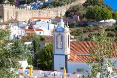 View of medieval town Obidos on a beautiful summer day.  Stock Photos