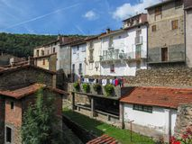 View of the medieval town with restored lavoir, communal clothes washing place, at Prats-de-Mollo-la-Preste, Pyrenees-Orientales, stock photos