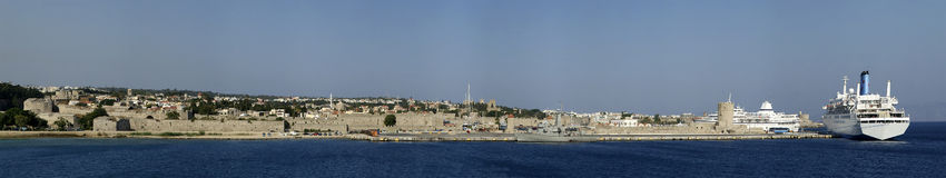View of the medieval town of Rhodes (panorama) Royalty Free Stock Photo