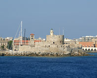 View of the medieval town of Rhodes from the sea Royalty Free Stock Photography