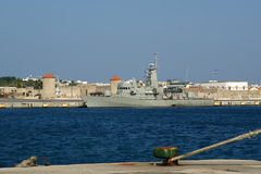 View of the medieval town of Rhodes from the sea Stock Photo