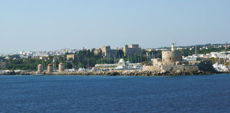 View of the medieval town of Rhodes from the sea Stock Photos