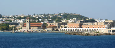 View of the medieval town of Rhodes from the sea Stock Images