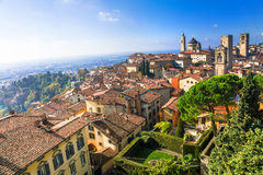 View of medieval Upper Bergamo - beautiful medieval town in nort Stock Photos