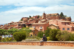 View of the medieval village Roussillon Stock Images