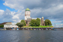 View of the medieval Vyborg castle from the side of the Gulf of Vyborg, Russia Stock Photography