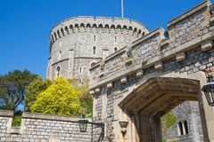 View at the medieval Windsor Castle, built 1066 by William the Conqueror. Official residence of Queen. Berkshire, England UK. Windsor, UK - May 5, 2018: View at stock photos