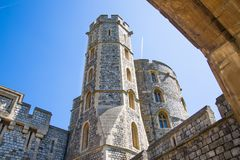 View at the medieval Windsor Castle, built 1066 by William the Conqueror. Official residence of Queen. Berkshire, England UK. Windsor, UK - May 5, 2018: View at royalty free stock photo