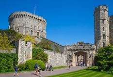 View at the medieval Windsor Castle, built 1066 by William the Conqueror. Official residence of Queen. Berkshire, England UK. Windsor, UK - May 5, 2018: View at royalty free stock image