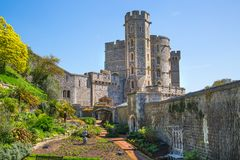 View at the medieval Windsor Castle, built 1066 by William the Conqueror. Official residence of Queen. Berkshire, England UK. Windsor, UK - May 5, 2018: View at royalty free stock photos