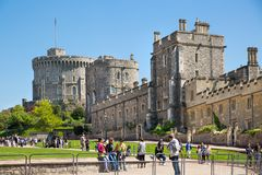 View at the medieval Windsor Castle, built 1066 by William the Conqueror. Official residence of Queen. Berkshire, England UK royalty free stock images