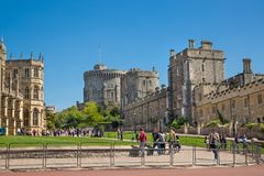 View at the medieval Windsor Castle, built 1066 by William the Conqueror. Official residence of Queen. Berkshire, England UK. Windsor, UK - May 5, 2018: View at stock images
