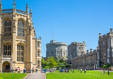 View at the medieval Windsor Castle, built 1066 by William the Conqueror. Official residence of Queen. Berkshire, England UK. Windsor, UK - May 5, 2018: View at stock image