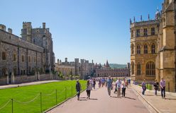 View at the medieval Windsor Castle, built 1066 by William the Conqueror. Official residence of Queen. Berkshire, England UK stock photos