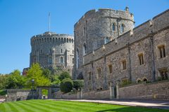 View at the medieval Windsor Castle, built 1066 by William the Conqueror. Official residence of Queen. Berkshire, England UK stock photography