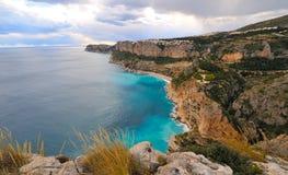View of a mediterranean coast beach. View of a gorgeous mediterranean coast beach Royalty Free Stock Photo