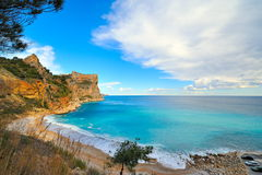 View of a mediterranean coast beach. View of a gorgeous mediterranean coast beach royalty free stock photography