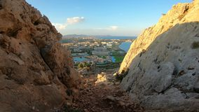 View of the Mediterranean coast of Rhodes island with tourist hotels and beaches. Greece. Top view