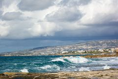 View of the Mediterranean coastline from the St. George Beach, Cyprus stock photography
