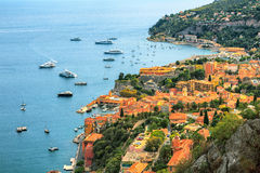 View of Mediterranean luxury resort and bay with yachts. Nice, Cote d'Azur, France. Royalty Free Stock Image
