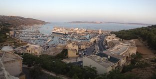 The View of a Mediterranean Paradise. Mgarr Harbor in Gozo, Malta, a panoramic view from a higher elevation Royalty Free Stock Image