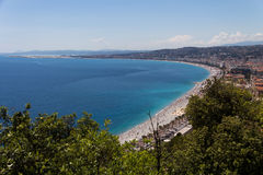 View of mediterranean resort, Nice, Cote d'Azur, France. french riviera. turquoise sea ,perfect sunny blue sky Royalty Free Stock Image