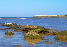 View of the Mediterranean Sea and the coastline with stones from Tel Aviv stock photos