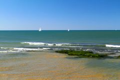 View of the Mediterranean Sea and the coastline with stones royalty free stock photography