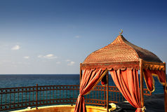 View of the Mediterranean Sea -  Cyprus. View of the Mediterranean Sea from the luxury terrace - the Turkish part - in the resort Kyreneia Royalty Free Stock Image