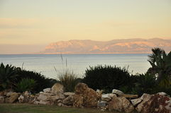 View on the Mediterranean sea at dusk Royalty Free Stock Image