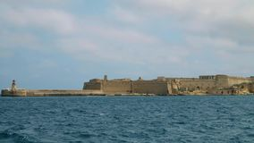 View of the Mediterranean Sea, Fort Ricasoli and the island of Malta from the coast of Valletta. View of the Mediterranean Sea, Fort Ricasoli and the island of stock video footage