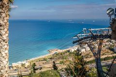 View of the Mediterranean sea and Haifa, Israel Royalty Free Stock Image