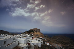 View Mediterranean sea, hill and houses on Rhosed island. View Mediterranean sea, hill and houses on Rhosed stock images