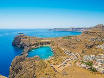 View on the Mediterranean Sea from Lindos Ruins royalty free stock photo