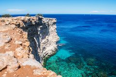 The Madonna Cliffs in Mellieha, Malta. A view of the Mediterranean sea in Malta and natural cliffs located in Mellieha Stock Images