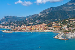 View on Mediterranean sea and Menton. View on Mediterranean sea and small town of Menton on French Riviera Royalty Free Stock Photo
