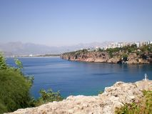 View of the Mediterranean Sea from the port of the old city of Antalya. Turkey stock photo