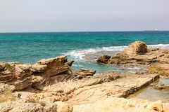 View of the Mediterranean Sea in the region of Caesarea Israel stock images