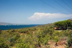View of the Mediterranean Sea in Sardinia stock photo
