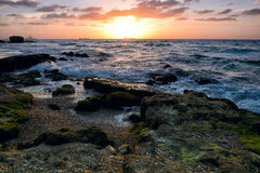 View of Mediterranean sea at sunset. Royalty Free Stock Images